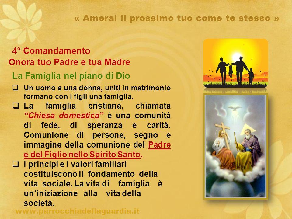ritardo « Amerai il prossimo tuo come te stesso » 4° Comandamento Onora tuo Padre e tua Madre La Famiglia nel piano di Dio www.parrocchiadellaguardia.