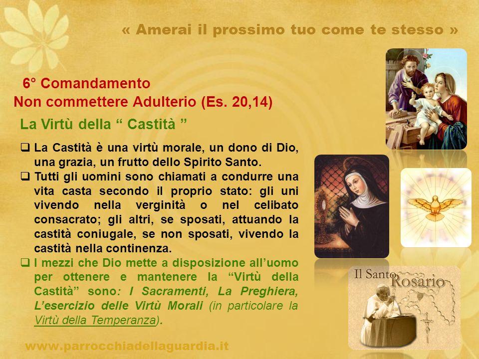 ritardo « Amerai il prossimo tuo come te stesso » 6° Comandamento Non commettere Adulterio (Es. 20,14) La Virtù della Castità www.parrocchiadellaguard