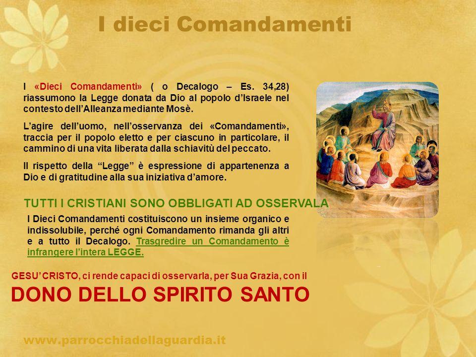 I dieci Comandamenti www.parrocchiadellaguardia.it ritardo I «Dieci Comandamenti» ( o Decalogo – Es. 34,28) riassumono la Legge donata da Dio al popol