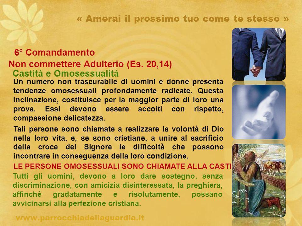 ritardo « Amerai il prossimo tuo come te stesso » 6° Comandamento Non commettere Adulterio (Es. 20,14) Castità e Omosessualità www.parrocchiadellaguar