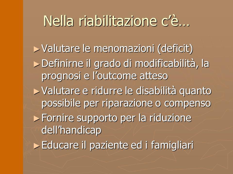 Nella riabilitazione cè… Valutare le menomazioni (deficit) Valutare le menomazioni (deficit) Definirne il grado di modificabilità, la prognosi e loutc