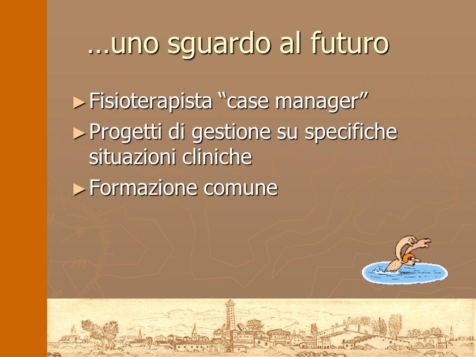 …uno sguardo al futuro Fisioterapista case manager Fisioterapista case manager Progetti di gestione su specifiche situazioni cliniche Progetti di gest