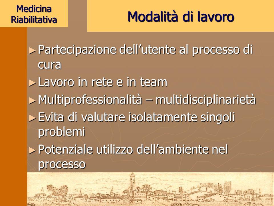 Medicina Riabilitativa Partecipazione dellutente al processo di cura Partecipazione dellutente al processo di cura Lavoro in rete e in team Lavoro in
