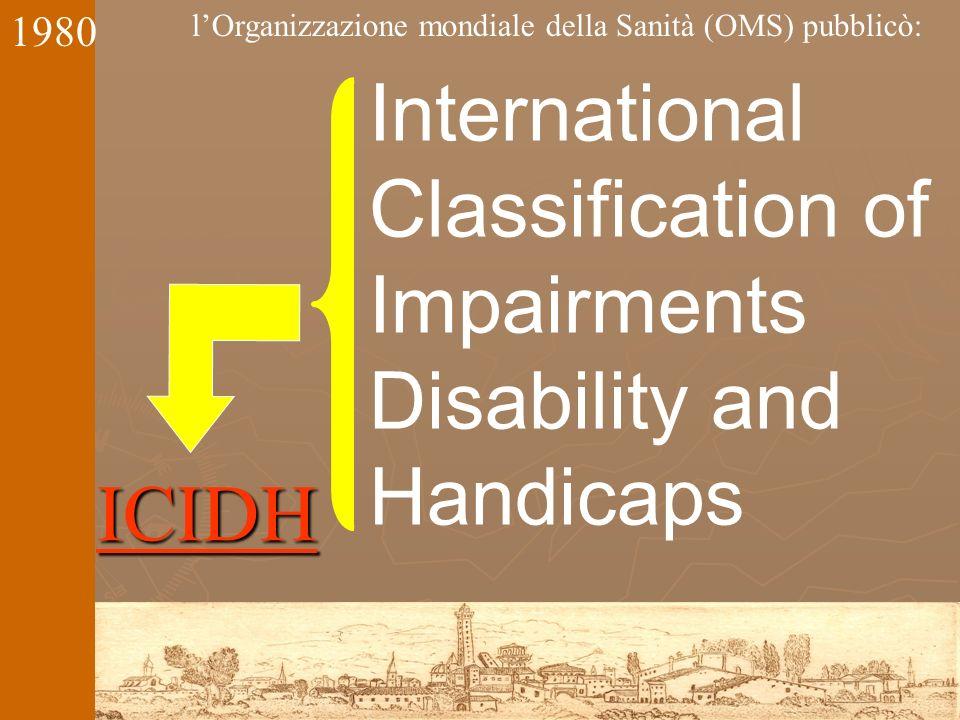 International Classification of Impairments Disability and Handicaps ICIDH lOrganizzazione mondiale della Sanità (OMS) pubblicò: 1980