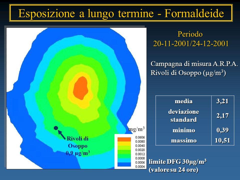 Campagna di misura A.R.P.A. Rivoli di Osoppo (μg/m 3 ) Periodo20-11-2001/24-12-2001 Rivoli di Osoppo 0,9 μg/m 3media3,21 deviazione standard 2,17 mini