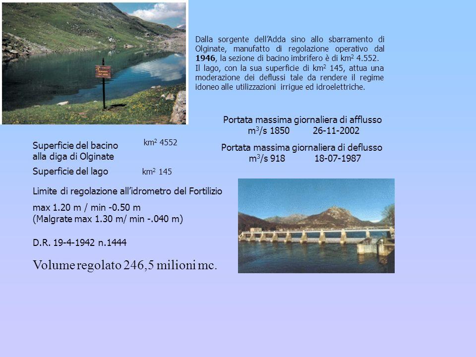 Superficie del bacino alla diga di Olginate D.R. 19-4-1942 n.1444 Volume regolato 246,5 milioni mc. Dalla sorgente dellAdda sino allo sbarramento di O