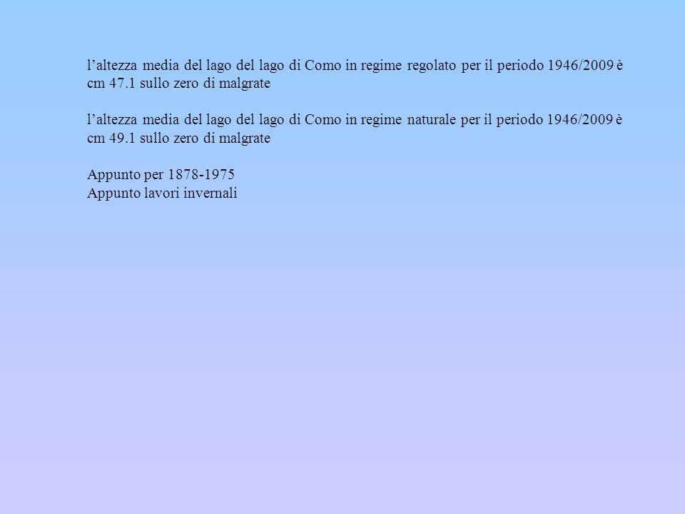 laltezza media del lago del lago di Como in regime regolato per il periodo 1946/2009 è cm 47.1 sullo zero di malgrate laltezza media del lago del lago
