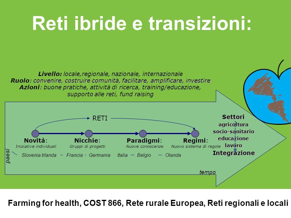 Reti ibride e transizioni: paesi Slovenia IrlandaFranciaGermaniaItaliaBelgioOlanda Livello: locale,regionale, nazionale, internazionale convenire, cos