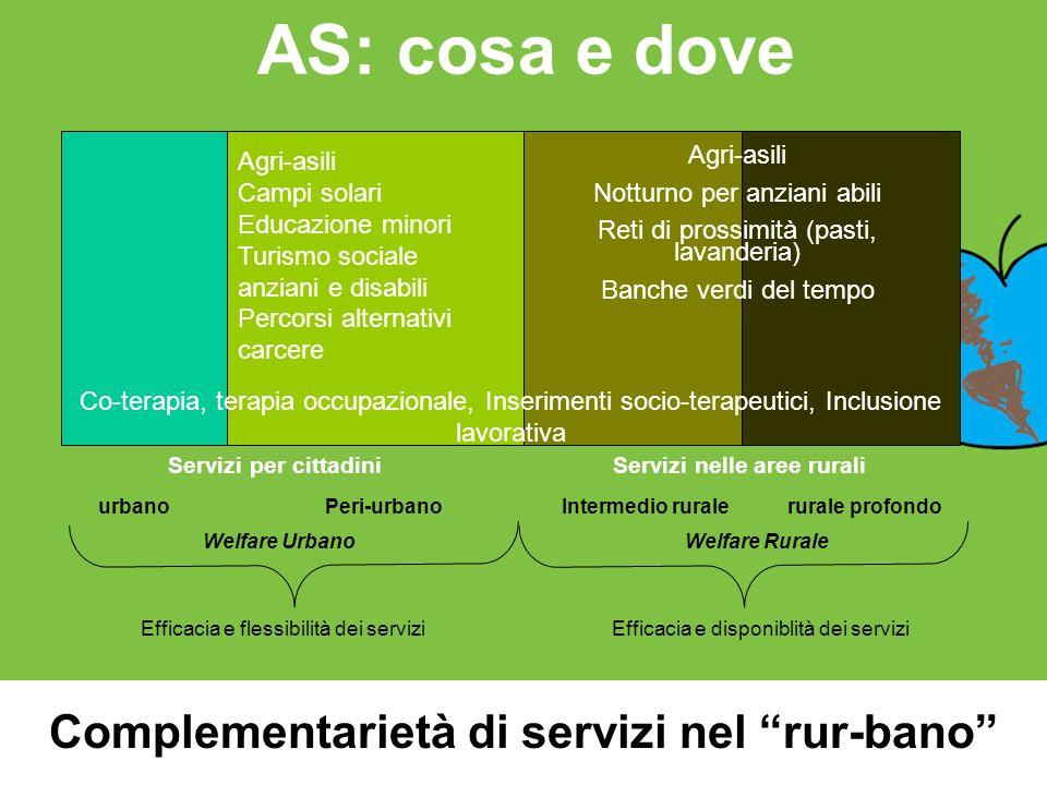 AS: cosa e dove Complementarietà di servizi nel rur-bano urbanoPeri-urbanoIntermedio ruralerurale profondo Welfare UrbanoWelfare Rurale Efficacia e fl