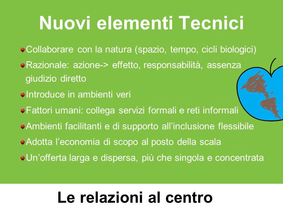 Nuovi elementi Tecnici Collaborare con la natura (spazio, tempo, cicli biologici) Razionale: azione-> effetto, responsabilità, assenza giudizio dirett