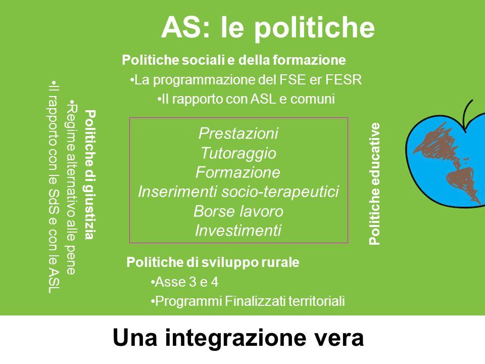 AS: le politiche Una integrazione vera Politiche di sviluppo rurale Asse 3 e 4 Programmi Finalizzati territoriali Politiche di giustizia Regime altern