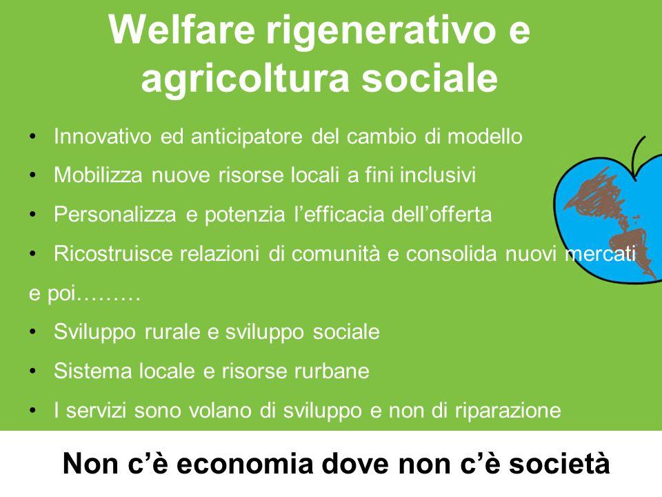 Welfare rigenerativo e agricoltura sociale Innovativo ed anticipatore del cambio di modello Mobilizza nuove risorse locali a fini inclusivi Personaliz