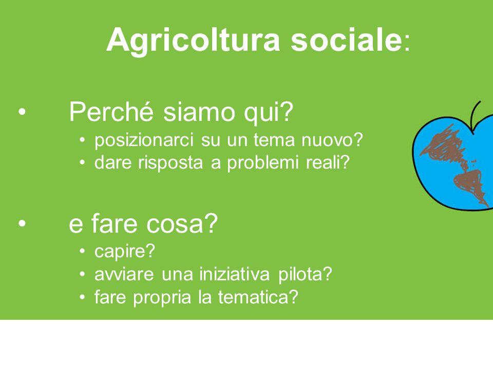 Agricoltura sociale : Perché siamo qui? posizionarci su un tema nuovo? dare risposta a problemi reali? e fare cosa? capire? avviare una iniziativa pil