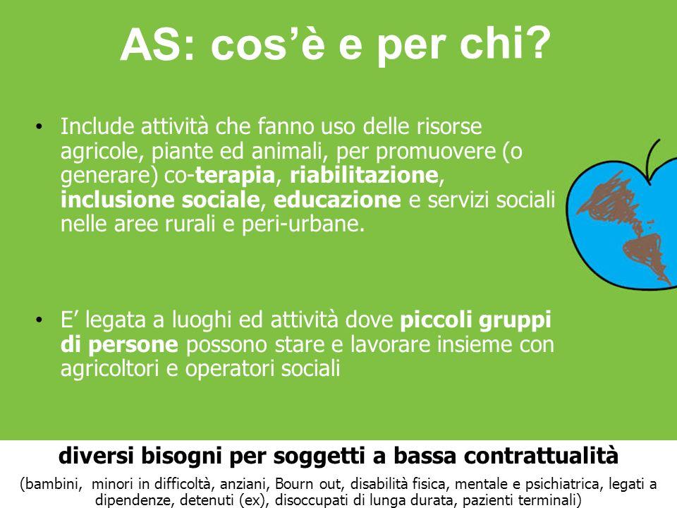 Include attività che fanno uso delle risorse agricole, piante ed animali, per promuovere (o generare) co-terapia, riabilitazione, inclusione sociale,