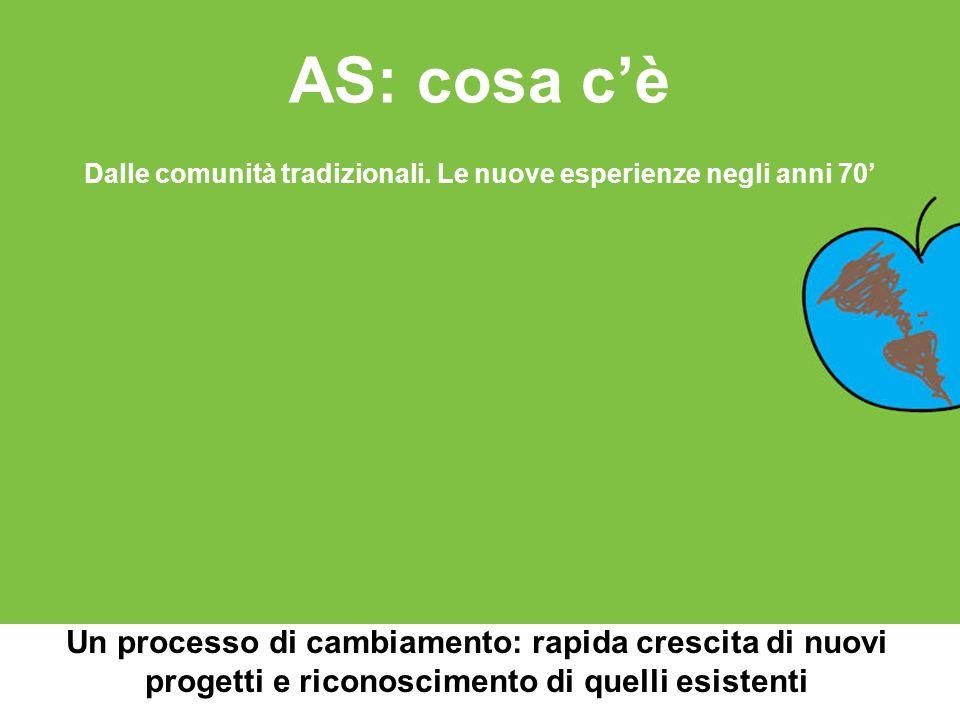 AS: cosa cè Un processo di cambiamento: rapida crescita di nuovi progetti e riconoscimento di quelli esistenti Dalle comunità tradizionali. Le nuove e