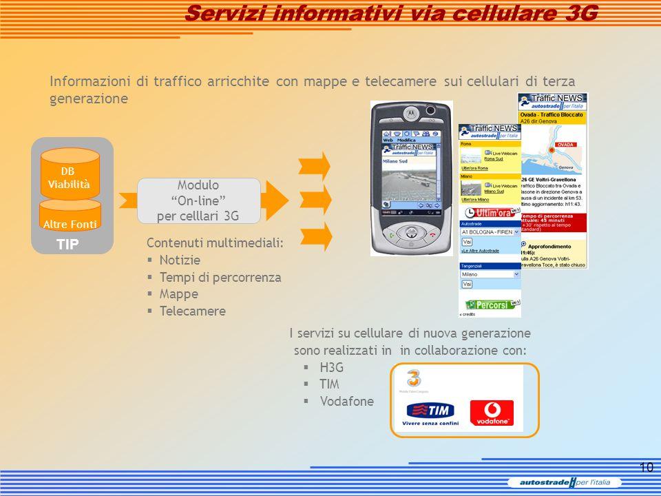 10 Informazioni di traffico arricchite con mappe e telecamere sui cellulari di terza generazione I servizi su cellulare di nuova generazione sono real