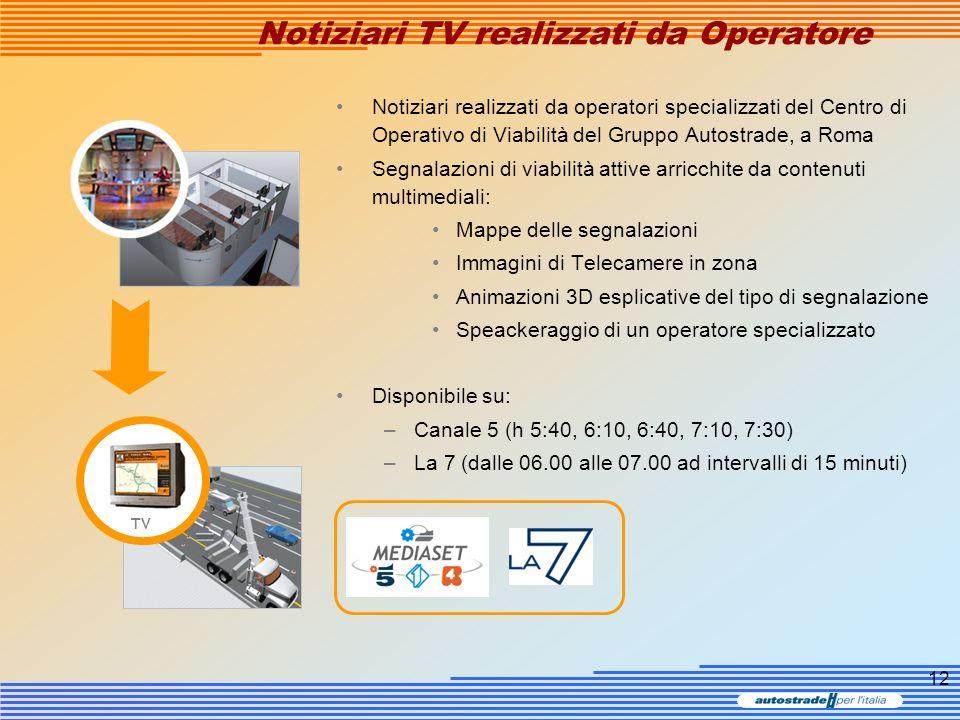 12 Notiziari TV realizzati da Operatore Notiziari realizzati da operatori specializzati del Centro di Operativo di Viabilità del Gruppo Autostrade, a