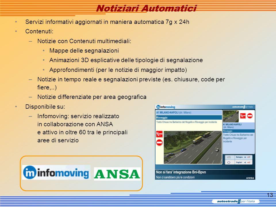 13 Notiziari Automatici Servizi informativi aggiornati in maniera automatica 7g x 24h Contenuti: –Notizie con Contenuti multimediali: Mappe delle segn