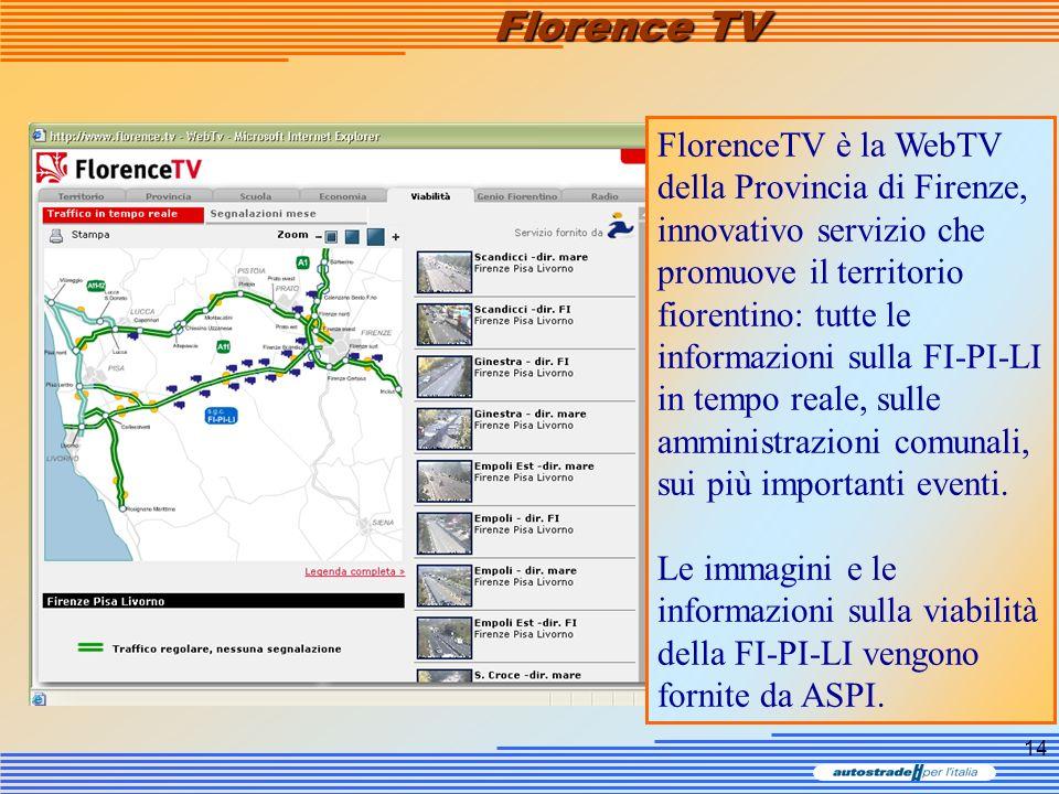 14 Florence TV FlorenceTV è la WebTV della Provincia di Firenze, innovativo servizio che promuove il territorio fiorentino: tutte le informazioni sull