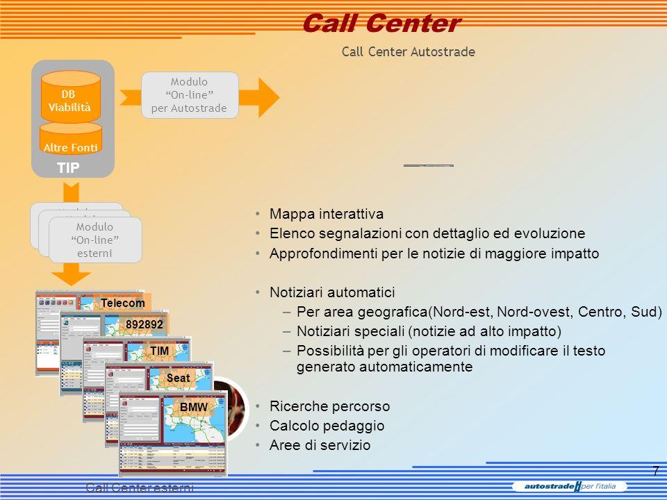 8 Call Center Bollettino personalizzato Posizione utente (GPS) Bollettini personalizzati Generazione automatica di un notiziario personalizzato Alert per nuove segnalazioni / avvicinamento a turbative Localizzazione GPS Direzioni di movimento Eventuali impostazioni (preferenze) Possibile inoltro al call center Il Call Center vede posizione dellutente ed il notiziario ricevuto