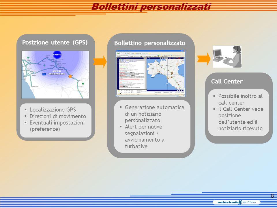 8 Call Center Bollettino personalizzato Posizione utente (GPS) Bollettini personalizzati Generazione automatica di un notiziario personalizzato Alert