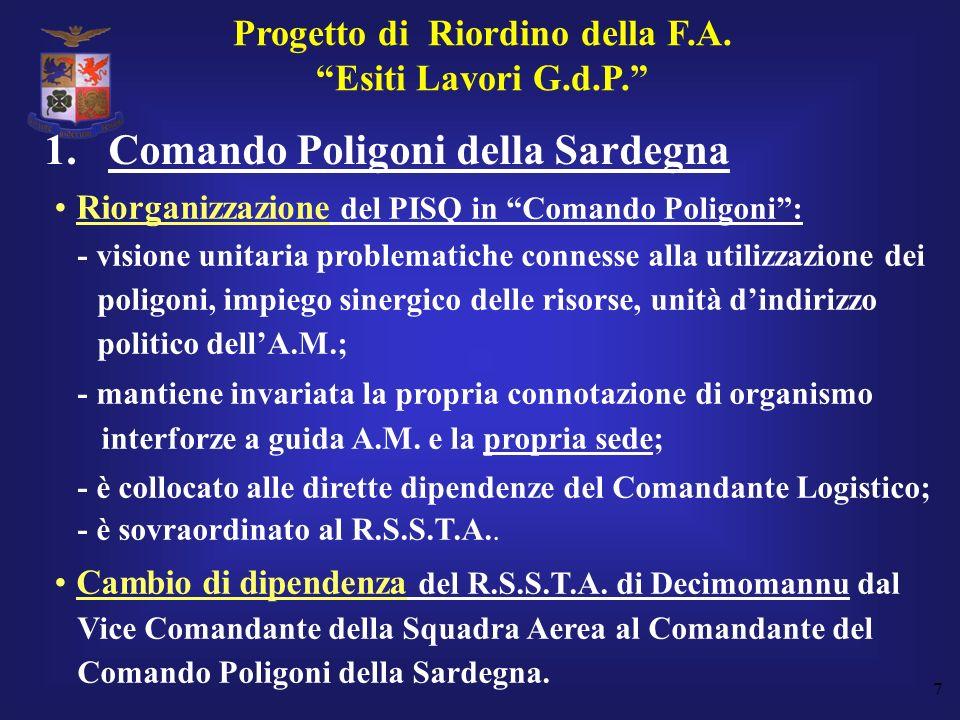 7 Riorganizzazione del PISQ in Comando Poligoni: - visione unitaria problematiche connesse alla utilizzazione dei poligoni, impiego sinergico delle ri
