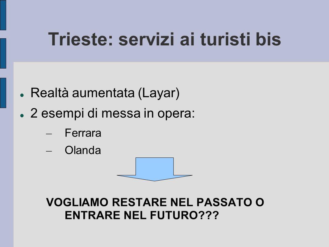 Trieste: servizi ai turisti bis Realtà aumentata (Layar) 2 esempi di messa in opera: – Ferrara – Olanda VOGLIAMO RESTARE NEL PASSATO O ENTRARE NEL FUTURO???
