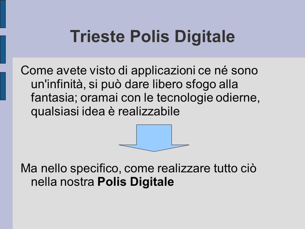 Trieste Polis Digitale Come avete visto di applicazioni ce né sono un infinità, si può dare libero sfogo alla fantasia; oramai con le tecnologie odierne, qualsiasi idea è realizzabile Ma nello specifico, come realizzare tutto ciò nella nostra Polis Digitale