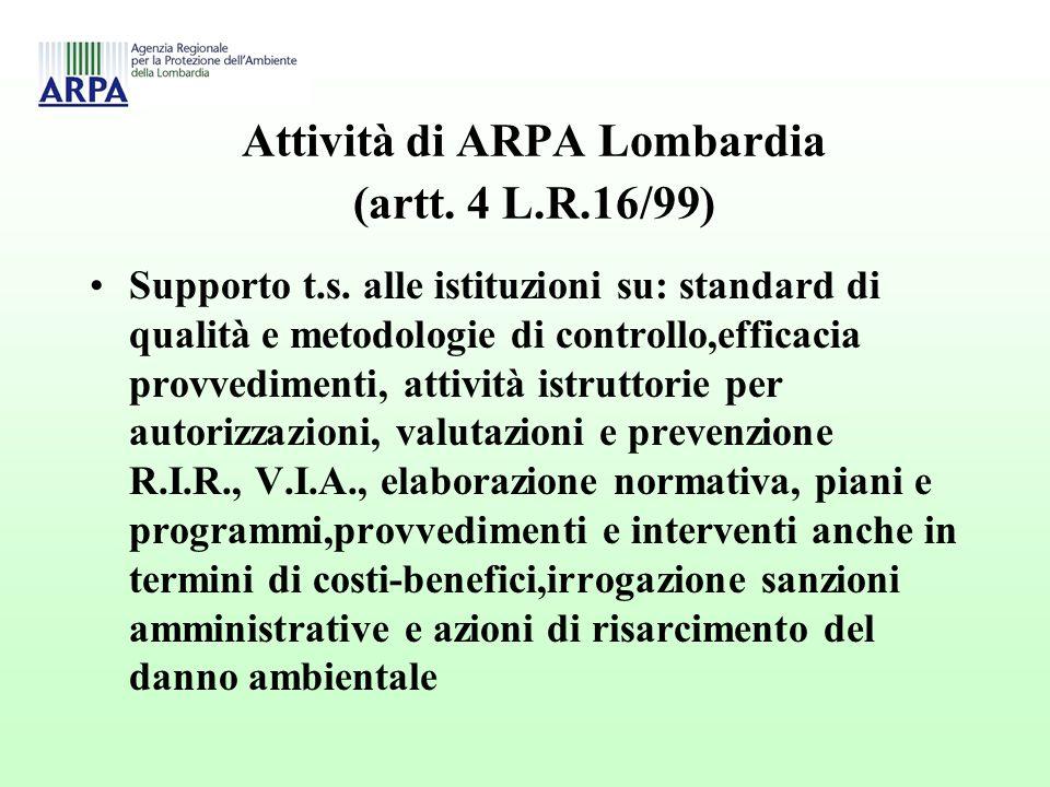 Attività di ARPA Lombardia (artt. 4 L.R.16/99) Supporto t.s.