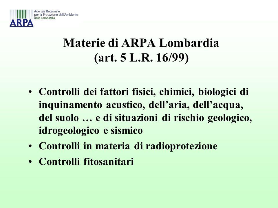 Materie di ARPA Lombardia (art. 5 L.R.