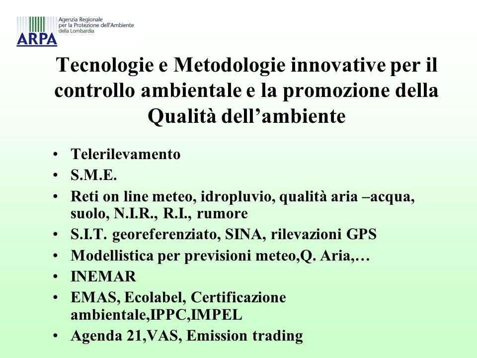 Tecnologie e Metodologie innovative per il controllo ambientale e la promozione della Qualità dellambiente Telerilevamento S.M.E.