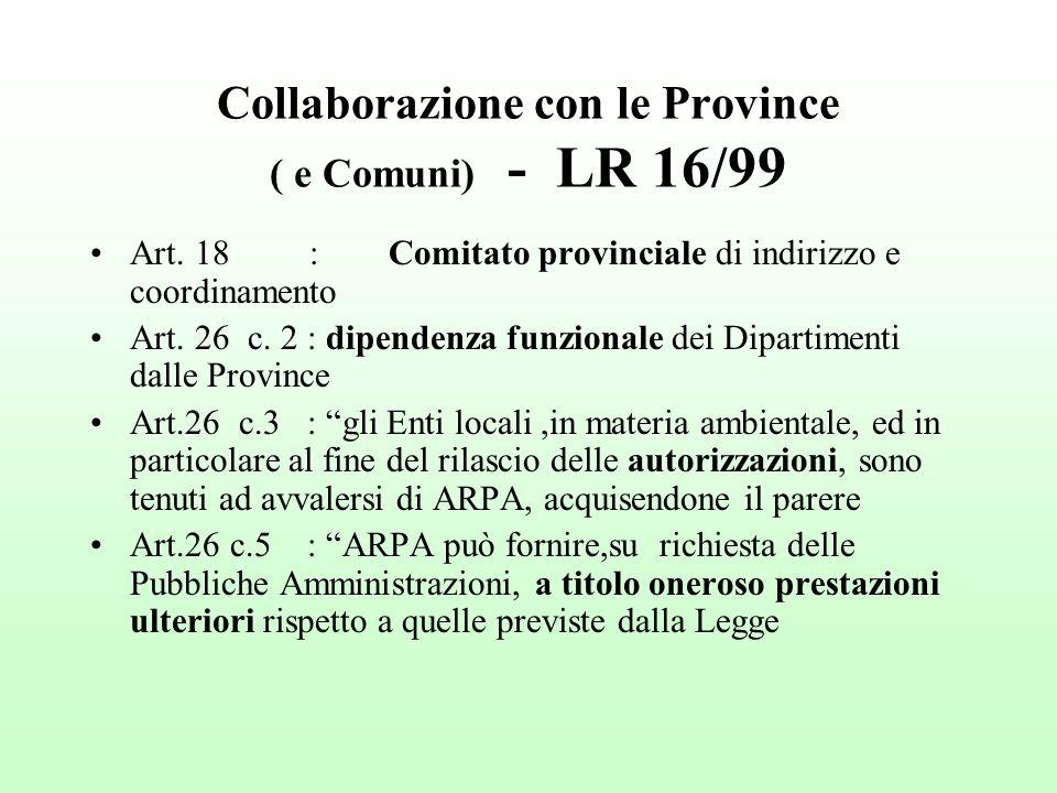 Collaborazione con le Province ( e Comuni) - LR 16/99 Art.