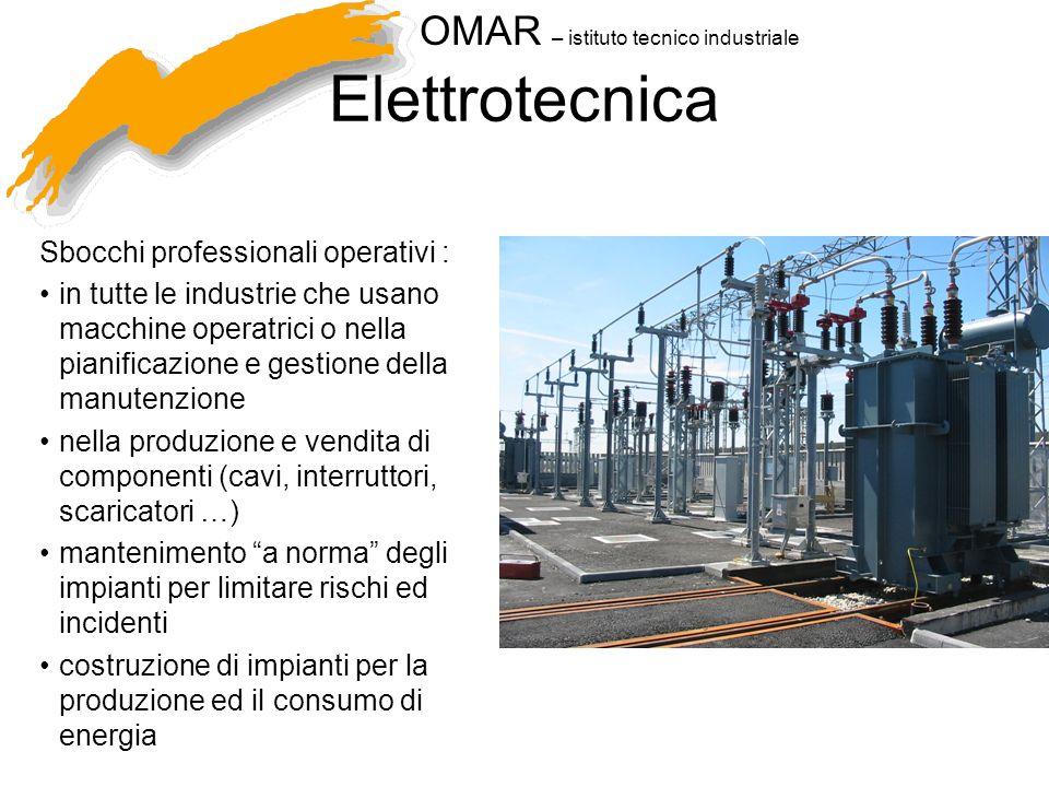 OMAR – istituto tecnico industriale Elettrotecnica Sbocchi professionali operativi : in tutte le industrie che usano macchine operatrici o nella piani