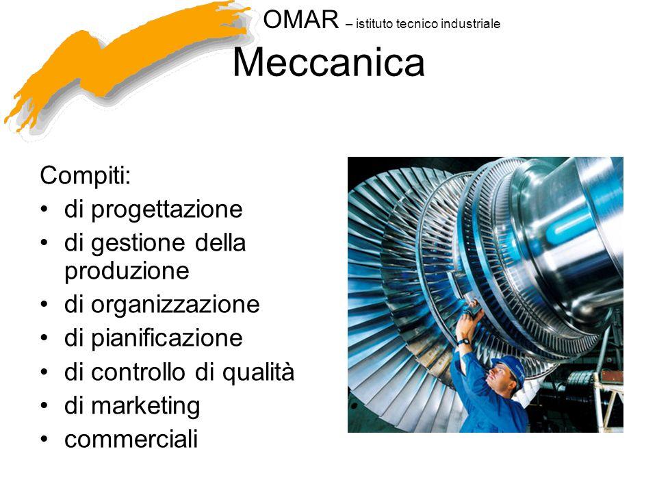 OMAR – istituto tecnico industriale Meccanica Compiti: di progettazione di gestione della produzione di organizzazione di pianificazione di controllo