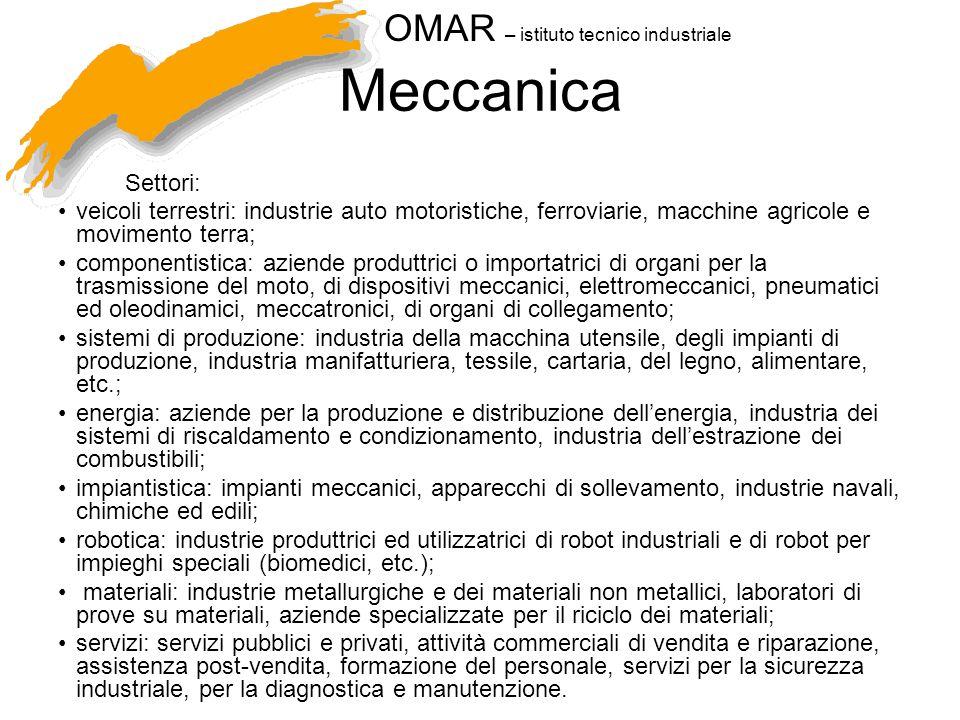 OMAR – istituto tecnico industriale Meccanica Settori: veicoli terrestri: industrie auto motoristiche, ferroviarie, macchine agricole e movimento terr