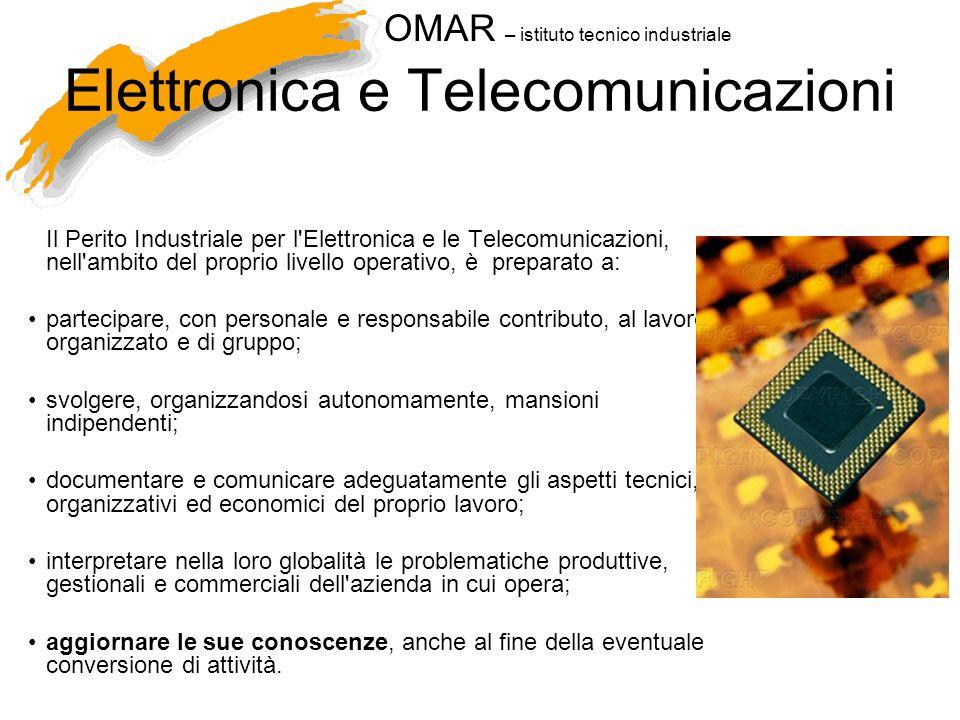 OMAR – istituto tecnico industriale Elettronica e Telecomunicazioni AMBITI operativi e concettuali: Aziende di progettazione e produzione di apparecchiature di controllo e sicurezza.