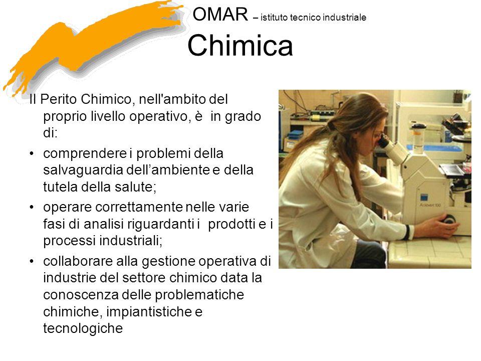OMAR – istituto tecnico industriale Chimica Il Perito Chimico, nell'ambito del proprio livello operativo, è in grado di: comprendere i problemi della