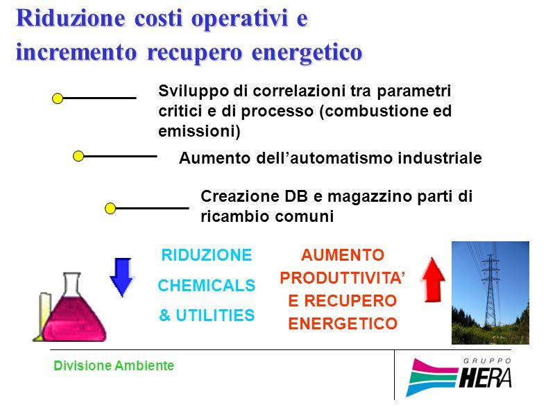 Divisione Ambiente Aumento dellautomatismo industriale Sviluppo di correlazioni tra parametri critici e di processo (combustione ed emissioni) RIDUZIONE CHEMICALS & UTILITIES AUMENTO PRODUTTIVITA E RECUPERO ENERGETICO Creazione DB e magazzino parti di ricambio comuni Riduzione costi operativi e incremento recupero energetico