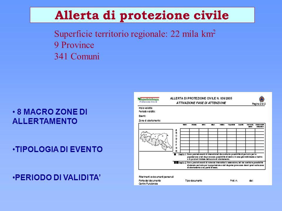 8 MACRO ZONE DI ALLERTAMENTO TIPOLOGIA DI EVENTO PERIODO DI VALIDITA Allerta di protezione civile Superficie territorio regionale: 22 mila km 2 9 Prov