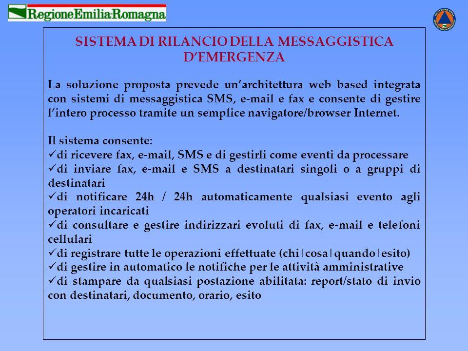 SISTEMA DI RILANCIO DELLA MESSAGGISTICA DEMERGENZA La soluzione proposta prevede unarchitettura web based integrata con sistemi di messaggistica SMS,