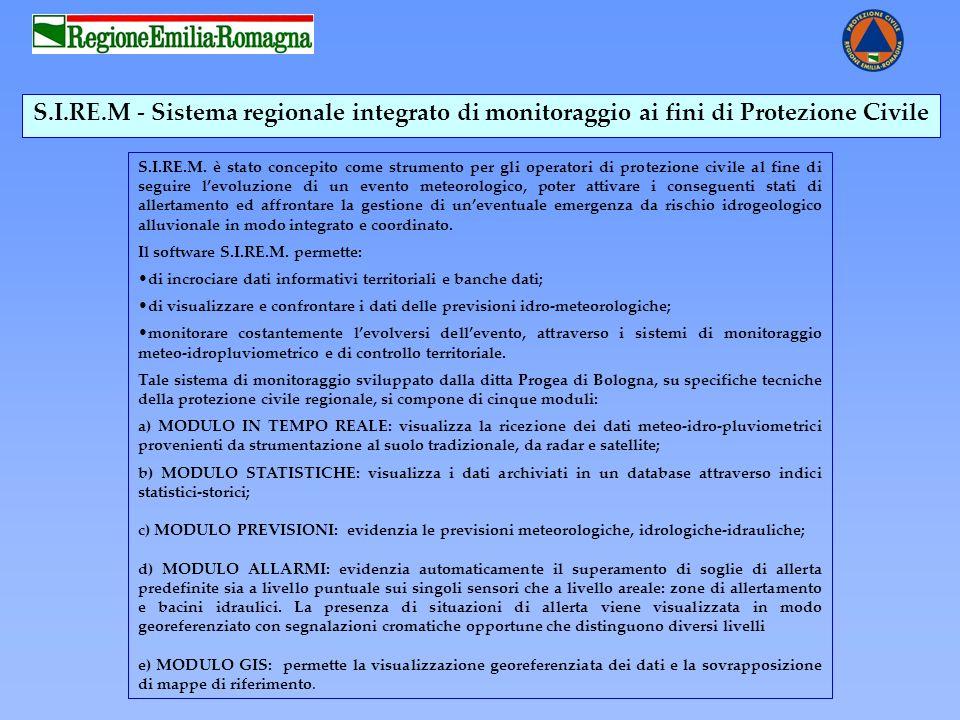 S.I.RE.M - Sistema regionale integrato di monitoraggio ai fini di Protezione Civile S.I.RE.M. è stato concepito come strumento per gli operatori di pr
