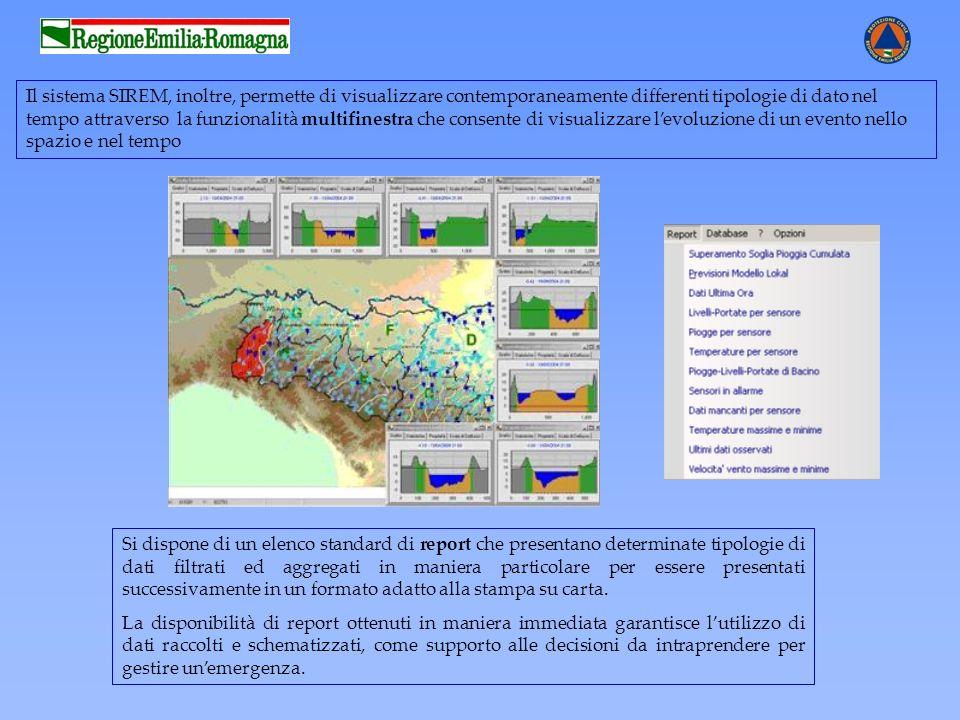 Il sistema SIREM, inoltre, permette di visualizzare contemporaneamente differenti tipologie di dato nel tempo attraverso la funzionalità multifinestra
