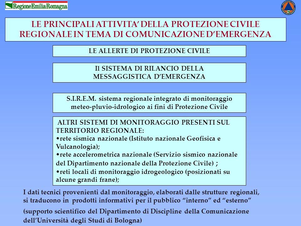 LE ALLERTE DI PROTEZIONE CIVILE LE PRINCIPALI ATTIVITA DELLA PROTEZIONE CIVILE REGIONALE IN TEMA DI COMUNICAZIONE DEMERGENZA S.I.R.E.M. sistema region