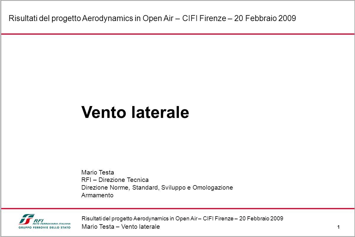 Risultati del progetto Aerodynamics in Open Air – CIFI Firenze – 20 Febbraio 2009 Mario Testa – Vento laterale 1 Risultati del progetto Aerodynamics i