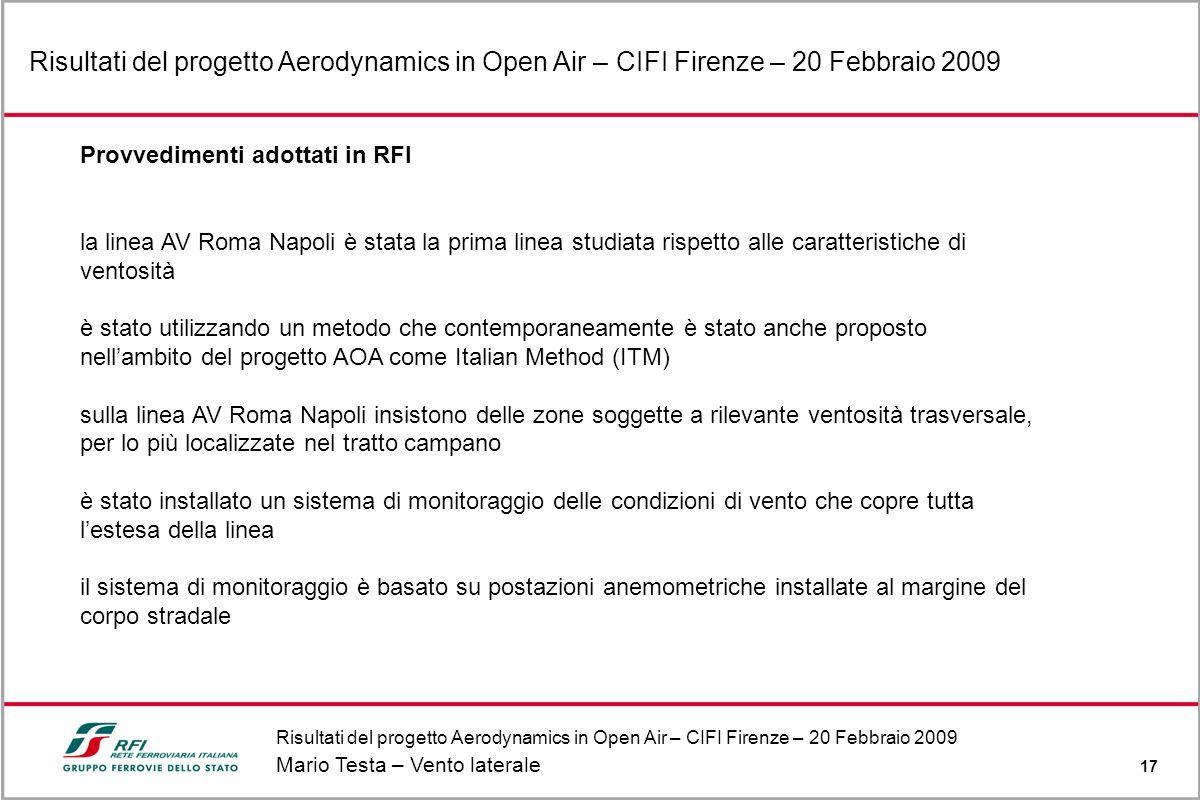 Risultati del progetto Aerodynamics in Open Air – CIFI Firenze – 20 Febbraio 2009 Mario Testa – Vento laterale 17 Risultati del progetto Aerodynamics