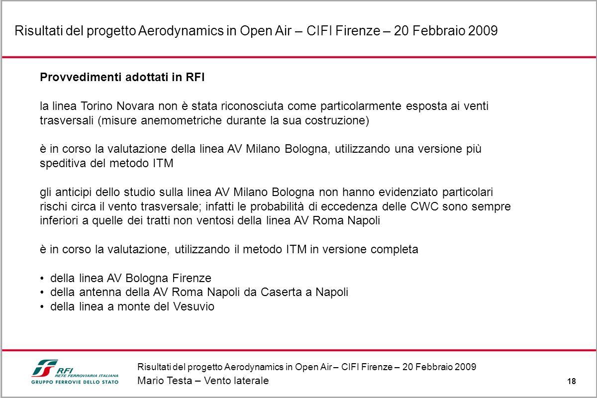 Risultati del progetto Aerodynamics in Open Air – CIFI Firenze – 20 Febbraio 2009 Mario Testa – Vento laterale 18 Risultati del progetto Aerodynamics