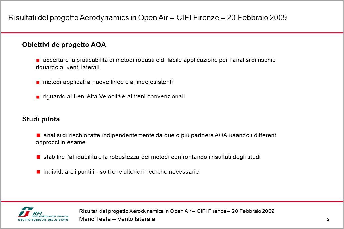 Risultati del progetto Aerodynamics in Open Air – CIFI Firenze – 20 Febbraio 2009 Mario Testa – Vento laterale 2 Risultati del progetto Aerodynamics i