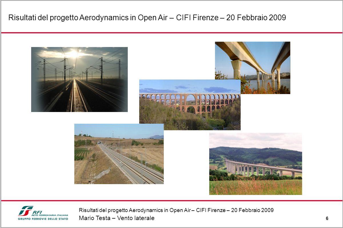 Risultati del progetto Aerodynamics in Open Air – CIFI Firenze – 20 Febbraio 2009 Mario Testa – Vento laterale 6 Risultati del progetto Aerodynamics i