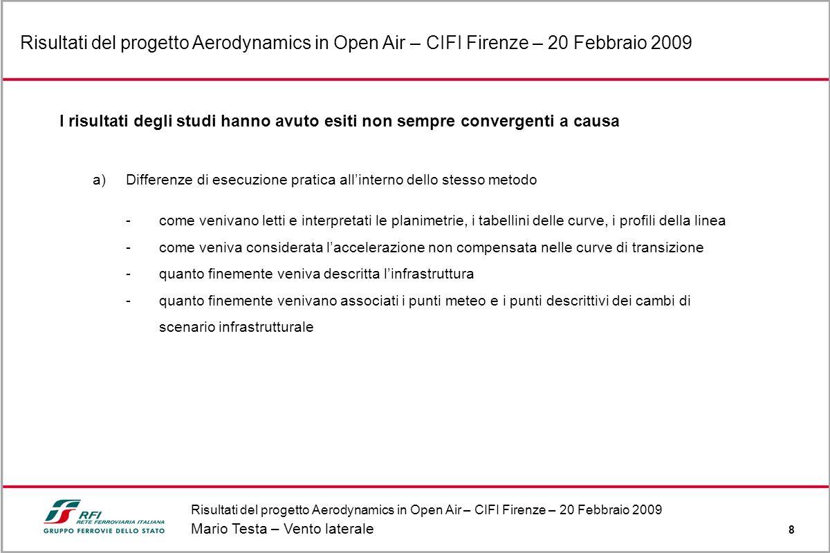 Mario Testa – Vento laterale 8 Risultati del progetto Aerodynamics in Open Air – CIFI Firenze – 20 Febbraio 2009 I risultati degli studi hanno avuto e