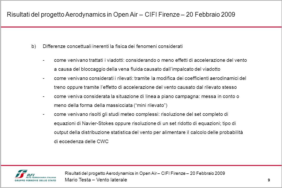 Risultati del progetto Aerodynamics in Open Air – CIFI Firenze – 20 Febbraio 2009 Mario Testa – Vento laterale 9 Risultati del progetto Aerodynamics i